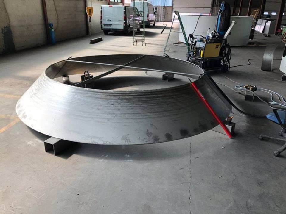 Tronc de cône droit réalisé avec MetalFox le logiciel de traçage des métaux en feuilles pour les chaudronniers.