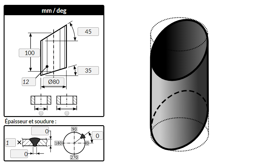 Flattening of a right cuted by planes, using MetalFox, the software for sheet metal workers and pipefitters.