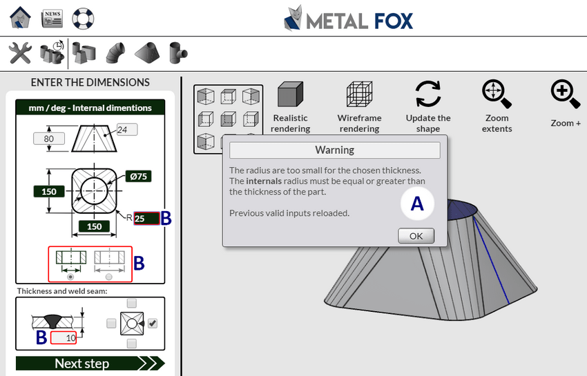 Control system of MetalFox, the software for sheet metal workers and pipefitters.