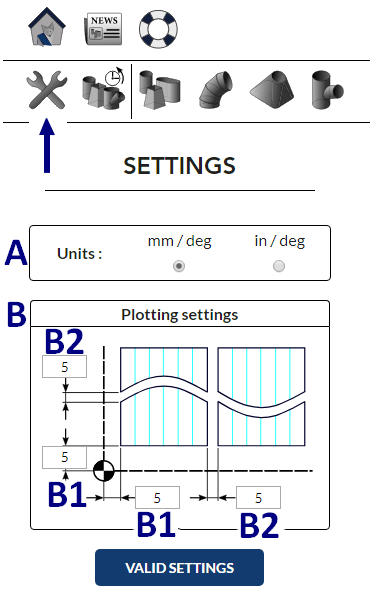 Settings of MetalFox, the software for sheet metal workers and pipefitters.